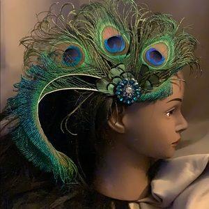New Handmade Flapper head dress w/peacock